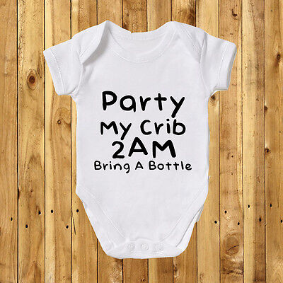 Party My Crib 2am Baby Grow Bodysuit Vest Girl Boy Cool Gift Funny Cute Daddy