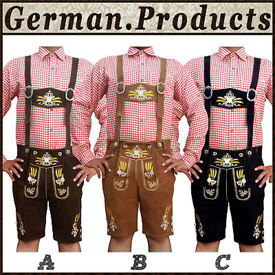 Authentic German Bavarian Oktoberfest Trachten Men Short Length Lederhosen