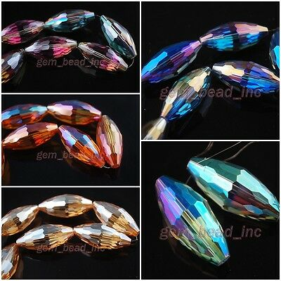 Assorted Oval Rugby Faceted Glass Crystal Bead Spacer Jewelry Finding 35x15mm