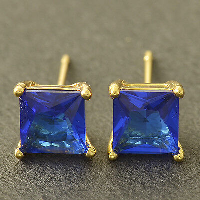 Beautiful Yellow Gold Filled 7mm Blue Sapphire CZ Square Stud Post Earrings