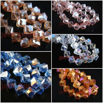 Loose Charms Glass Crystal Faceted Bevel Hole Cube Beads Spacer Findings 10x10mm