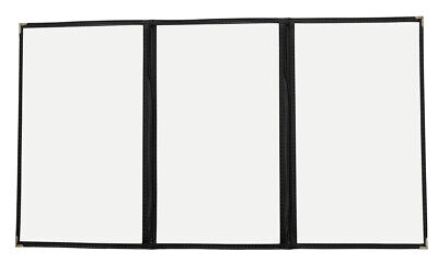 "30pcs 8.5""x14"" Menu Covers, Triple Page 6 Views, Gold Corners Black Trim 3LBK"
