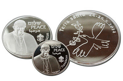 Francis Pope's Visit In Israel Pilgrimage 2014 Official Vatican Set Of 3 Medals