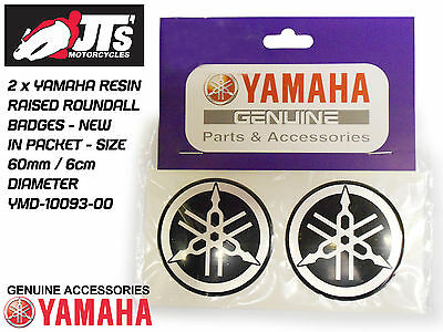 YAMAHA TANK / PANEL RAISED RESIN ROUNDAL ROUNDEL / BADGES / EMBLEMS x2 60mm Dia