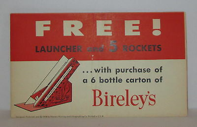 1958 Bireley's Orange Drink Rocket Launcher Soda Advertising Premium Mint !