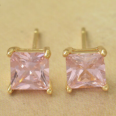 Pretty New 9K Solid Yellow Gold Filled 7mm Pink CZ Square Stud Post Earrings