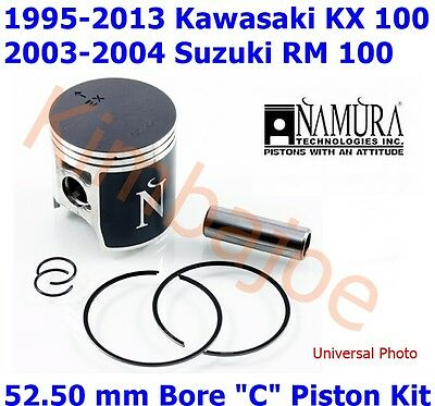 "Kawasaki KX 100 MX, Suzuki RM 100 MX 52.50 mm Bore ""C"" Namura Piston Kit"
