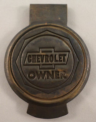 Chevrolet Owner Solid Brass Money clip with Antique Patina Round Emblem