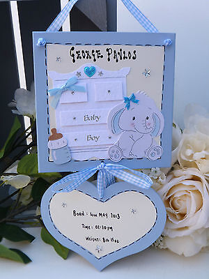 E38 Personalised Newborn Baby Boy Girl Birth or Christening Keepsake Gift Plaque