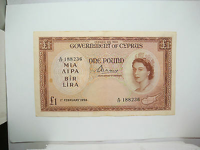 Cyprus 1956 - 1 Pound Banknote - Serial A/17 188236 - Rare ! Beautiful condition