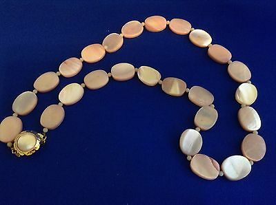 Gorgeous Light Pink MOP Shell Flat Bead Vintage Necklace Japan