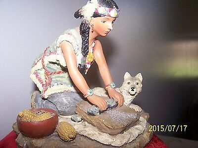 """Young's Incorporated Dundee Indian Maiden w/Wolf 2002 5 1/2""""H Figurine"""