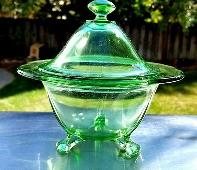 "Green Fostoria FAIRFAX # 2394 6 3/4"" 3 FOOTED CANDY JAR With Cover"