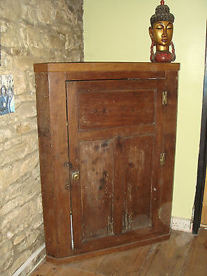 Antique Georgian oak 3/4 height corner cupboard cabinet blind panels Gorgeous