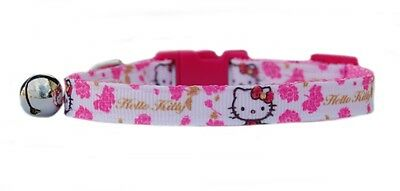 pink Hello Kitty & pink flowers  safety kitten cat collar 3 sizes