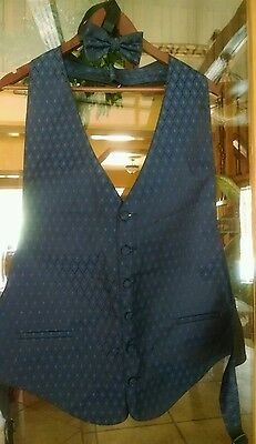 Mens Tux  Vest XXL Blue with matching Bow Tie