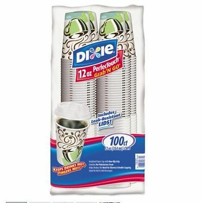 Dixie PerfecTouch Hot Drink Cup w/Lids Pack 12oz 100ct DXE 5342C100CDP