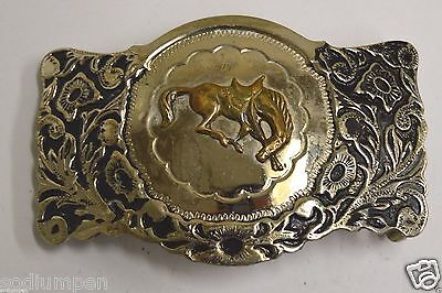 WOW Vintage Bowing Horse Equestrian Western Rodeo Nickel Silver Belt Buckle Rare