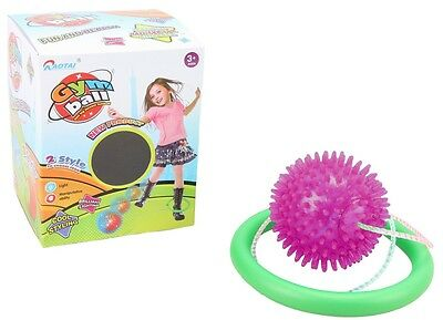 PINK Flashing Lights Glitter Skip Ball Childrens Skipping Rope Toy Game 17972
