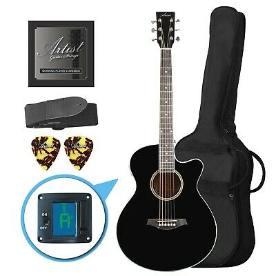 Artist LSPSBK Small Body Beginner Acoustic Guitar Pack Black - New