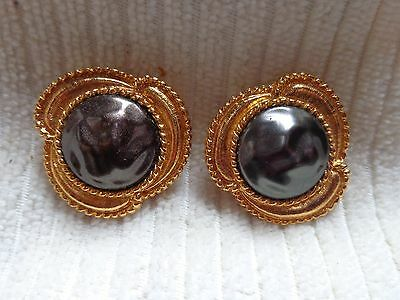 Nony NY Vintage Button Cover, Lot of 2 Goldtone & Black