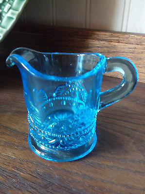 """EAPG Reproduction Childs Toy Water / Miniature Pitcher Blue Glass 2 1/3"""""""