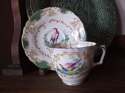 Crown Staffordshire Bird Cup and Saucer - Beautiful