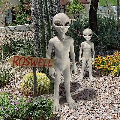 Set of 2 Sizes UFO Extra-Terrestrial Roswell Area 51 Outer Space Alien Sculpture