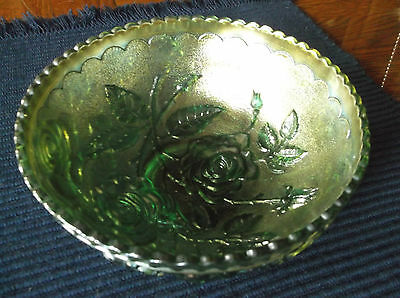 "Imperial Green Carnival Glass Bowl Open Rose 6 1/2"" Wide"