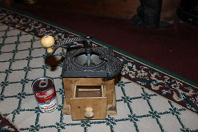 Vintage Wood & Metal Coffee Grinder-Small Country Decor Coffee Grinder-LQQK