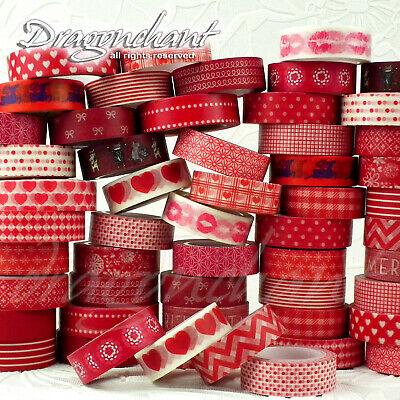 Paper Washi Masking Tape Adhesive Roll Decorative Card Craft Trim RED Collection