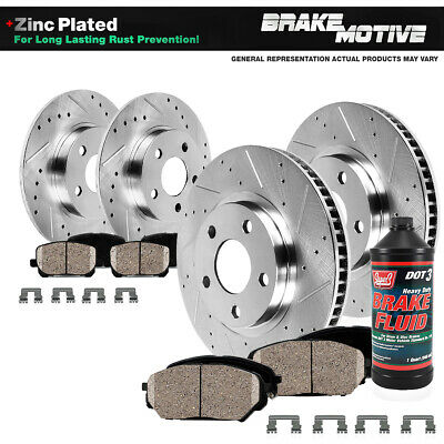Front & Rear Drill Slot Brake Rotors And Ceramic Pads For 2009 - 2014 Acura TL
