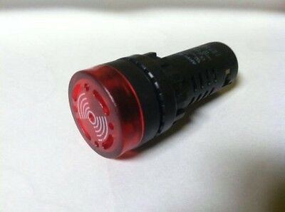 22MM LED Indicator Red With Audible Alarm 110v 115v 120v Beeping Flashing