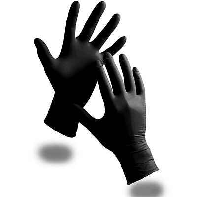100 LARGE Extra Strong Black Powder Free Nitrile Disposable Gloves Food Medical