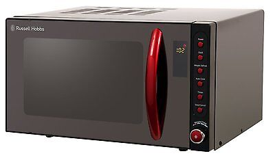 Russell Hobbs RHM2080BR 20L Black Digital Microwave, Red Handle 1 Year Warranty