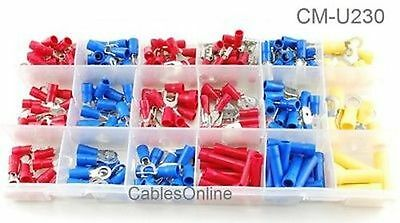 230-pcs Vinyl Insulated Wire Terminal Assortment Kit with 18 Slot Organizer Box