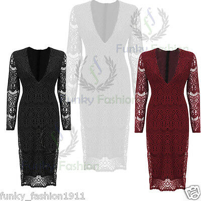 Ladies Womens Sexy Long Sleeved Plunge Neck Midi Lace Lined Bodycon Dress