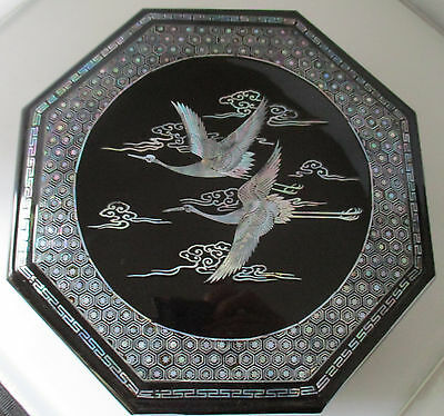 Vintage Korea Black Lacquer Octagon Sectional Box With Mother-Of-Pearl Inlay