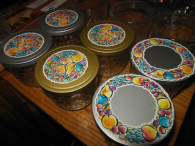 Lot of 9 Vintage 60s Ball Quilted Crystal Mason Jelly Jars