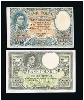 1919 Poland 100 and 500 Zlotych banknotes