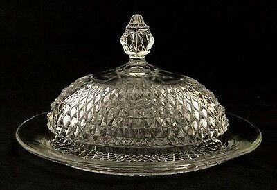 Diamond Point Clear Glass Oval Covered Butter Dish