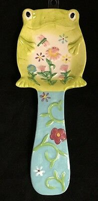 Boston Warehouse Toad Frog Spoon Rest Flowers Dragonfly