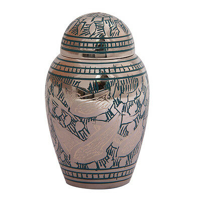 Small Dome Top Going Home Teal Keepsake Urn Ashes, Keepsake Cremation Urns