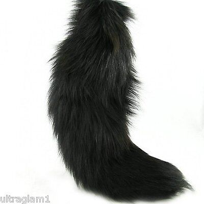 """1pc X-Large DYED BLACK 100% GENUINE FOX TAIL/QUEEN/DRAG/FUR KEYCHAIN ( 14""""-17"""" )"""