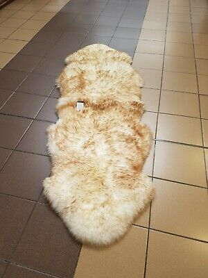 """Genuine sheepskin rug Double Natural Brown tipped wolf  aprox 84"""" x 30"""""""