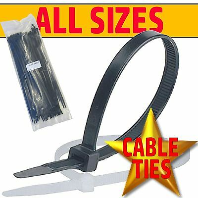 BLACK & NATURAL/WHITE Cable Ties Tie Wraps Zip Ties Strong Various Sizes & Qtys