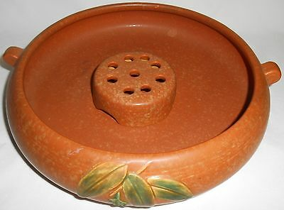 Weller Pottery TWO PIECE BOWL w/FLOWER FROG SET Arts & Crafts CORNISH PATTERN