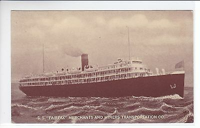 S.S. Fairfax Merchants and Miners Transportation Company Vintage Postcard
