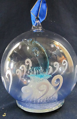 Dolphin Blown Glass Ornament Figurine Light-up Holiday Decor