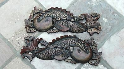 PAIR ANTIQUE 19c CHINESE WOOD HAND CARVED CARP FISH FIGURES ,PAINTED PLAQUES